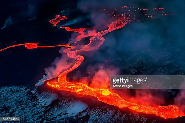 small part of lava flowing, iceland - vulkan stock-fotos und bilder