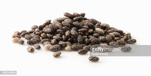 Small pile of chia seed on white background