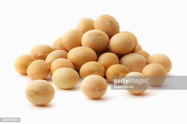 Small pile of soya beans on white background