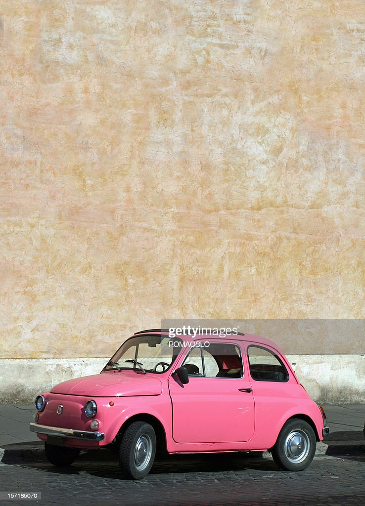 Small Pink Vintage Fiat Car In Rome Italy Stock Photo Getty Images