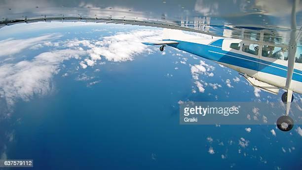 Small plane over the sea