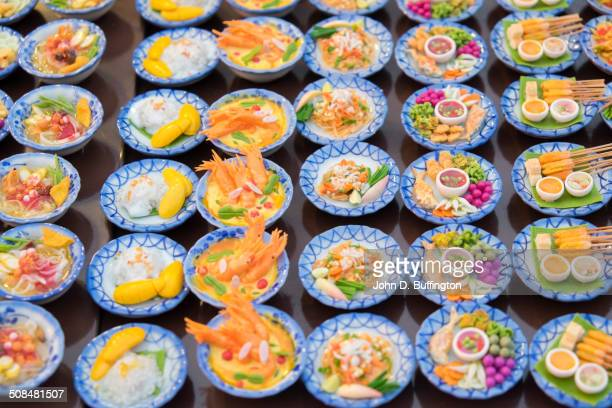 Small plates of street food in market, Chiang Mai, Thailand