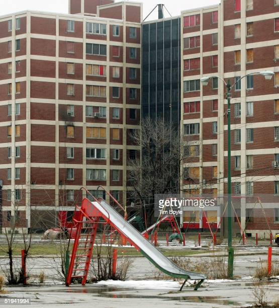 A small playground is seen near of one of the few remaining Chicago Housing Authority CabriniGreen public housing buildings January 12 2005 in...