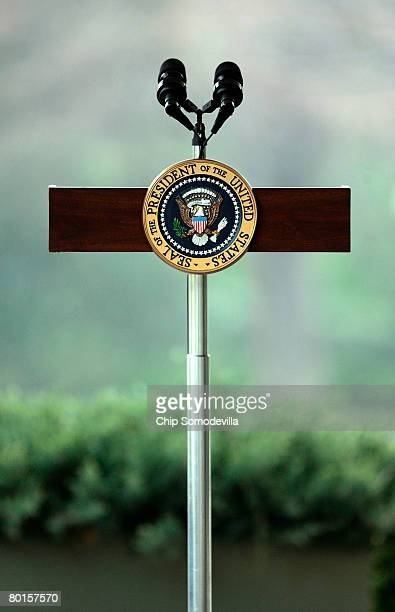 A small podium watis for US President George W Bush to deliver remarks on the economy outside of the Oval Office at the White House March 7 2008 in...