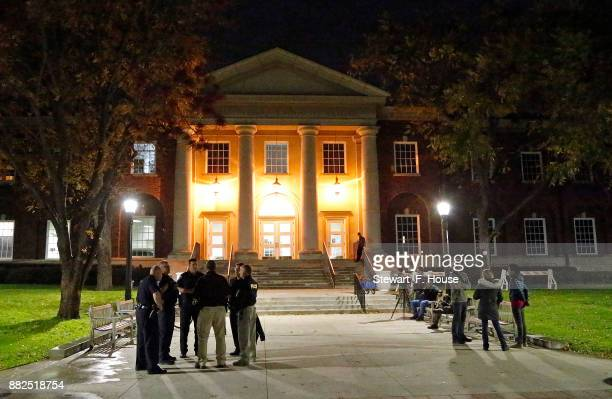 A small police presence is shown outside a speech by conservative media activist James O'Keefe speaks at an event hosted by the Southern Methodist...