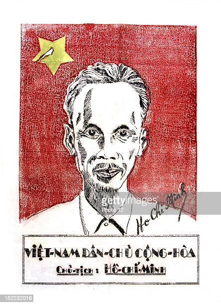 Small propaganda poster supporting Ho Chi Minh 20th century France Indochina war Private collection