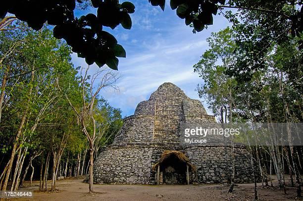 Small PYramid at Mayan ruins of Coba Caribe Quintana Roo state Mayan Riviera Yucatan Peninsula Mexico