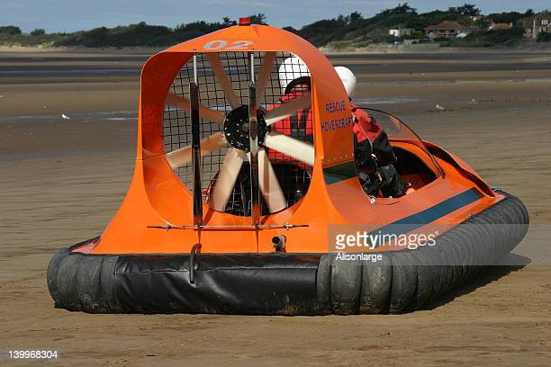 small rescue hovercraft - hovering stock photos and pictures