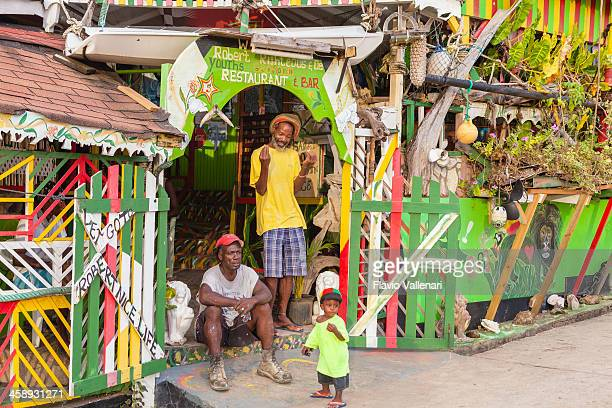 small restaurant on mayreau island, the grenadines - saint vincent and the grenadines stock pictures, royalty-free photos & images