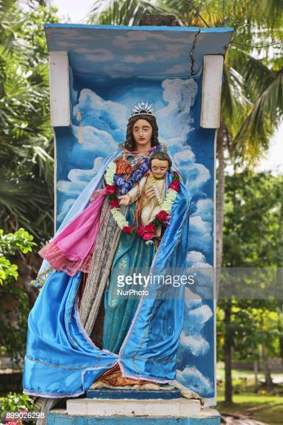 Small roadside shrine for Our Lady of Madhu in Mannar Sri Lanka