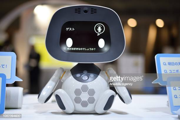 A small robot UNIBO is displayed during the Japan Robot Week 2018 at Tokyo Big Sight Japan on October 17 2018