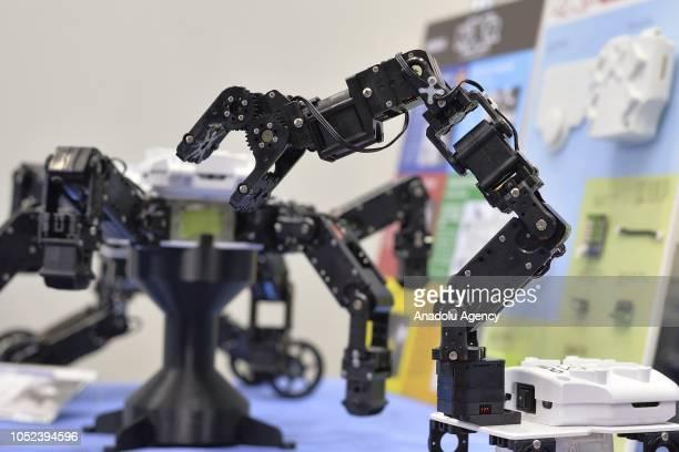 Small robots are displayed at the Japan Robot Week 2018 at Tokyo Big Sight Japan on October 17 2018