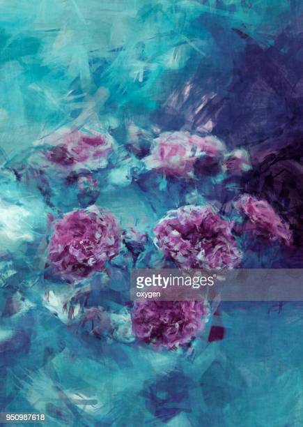 small roses flowers on blue background closeup - colour manipulation stock pictures, royalty-free photos & images