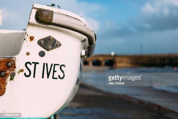 small rowing boat - st. ives cornwall stock pictures, royalty-free photos & images