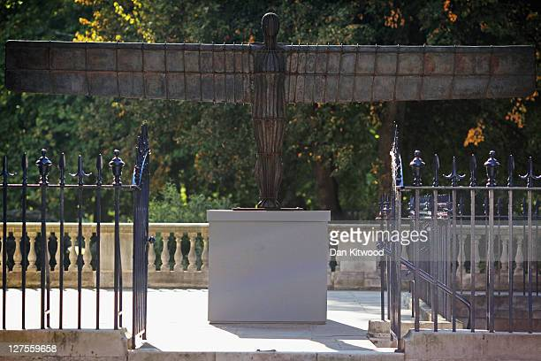 Small scale maquette of Antony Gormley's 'Angel of the North' is installed outside Spencer House on September 29, 2011 in London, England. To piece...