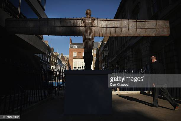 A small scale maquette of Antony Gormley's 'Angel of the North' is installed outside Spencer House on September 29 2011 in London England To piece is...
