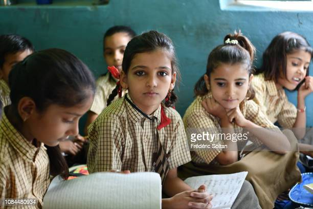 Small school in a village of shepherds and farmers near Bikaner in Rajasthan on November 24 2018 in India