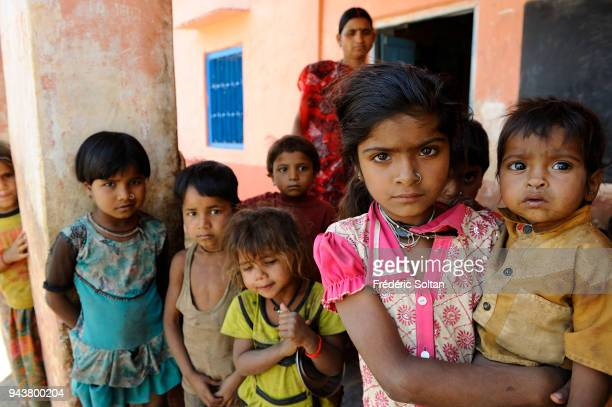 Small school in a village of shepherds and farmers near Udaipur in Rajasthan on March 10 2017 in India