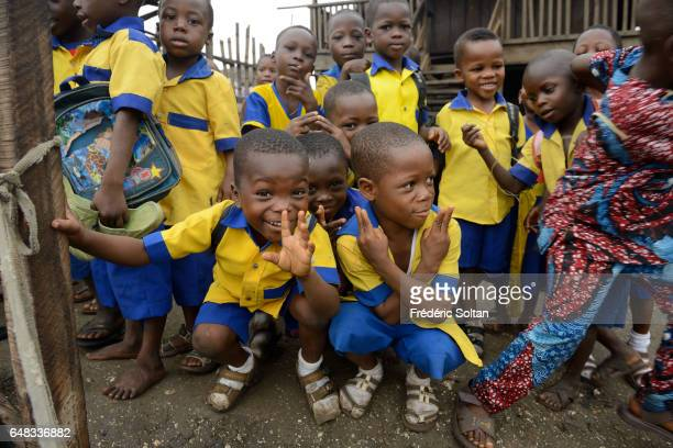 Small school in Makoko on March 17 2016 in Lagos Nigeria At present its population is considered to be around 200000 It was established in the 18th...