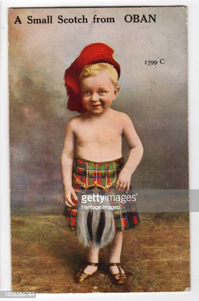 Small Scotch from Oban, 1934. Child in traditional Scottish kilt - play on words. Artist Unknown.