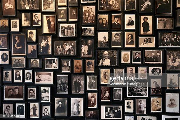 Small selection of the personal photographs taken from prisoners as they arrived at the Auschwitz II Birkenau extermination camp are displayed on...