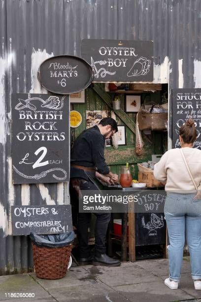 A small shack selling British Rock Oysters at Columbia Road Flower Market on the 6th October 2019 in London in the United Kingdom Columbia Road...