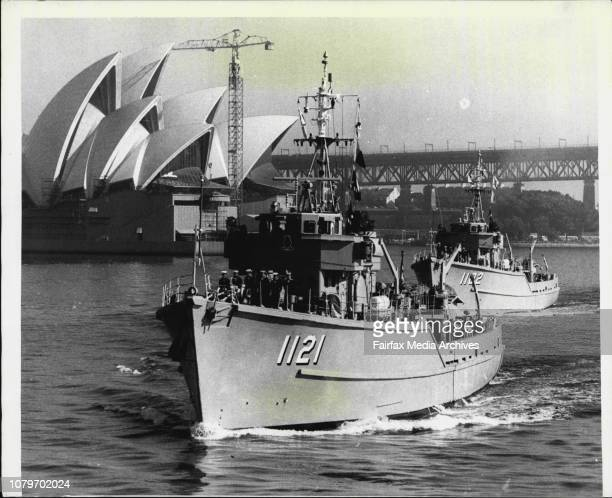 Small Ships Sail For New Guinea And Far East -- Three of the smallest ships in the RAN, two mine hunters HMAS Snipe and Curlew and the minesweeper...
