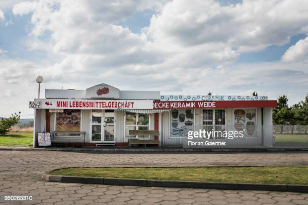 A small shop for food with german advertising in the germanpolish border area is pictured on April 13 2018 in Radomierzyce Poland