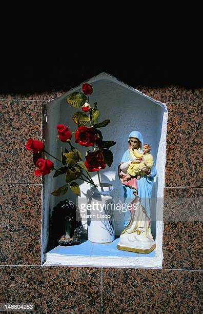 a small shrine set into the wall of a home in giardini naxos. - naxos sicily stock pictures, royalty-free photos & images