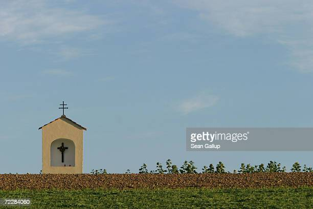A small shrine stands in a field October 9 2003 near the childhood home of newlyelected California Governor Arnold Schwarzenegger October 9 2003 in...