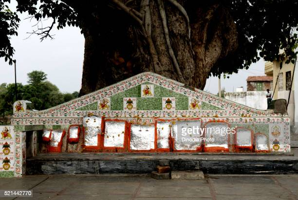 small shrines to the village god , dilwara, rajasthan, india - dilwara temples foto e immagini stock