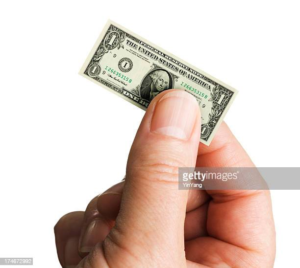 small shrinking currency dollar in inflation on white background - american one dollar bill stock pictures, royalty-free photos & images