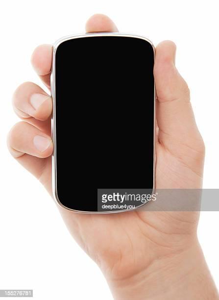小型のスマートフォンを手でホワイト雄