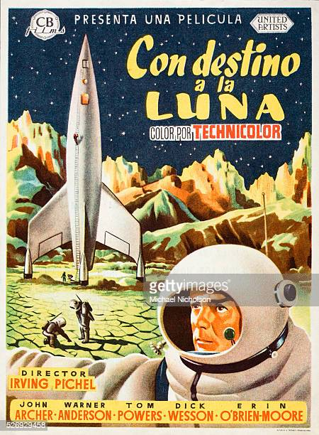 Small Spanish film poster for the 1950 United Artists film Destination Moon directed by Irving Pichel starring John Archer Warner Anderson Tom Powers...