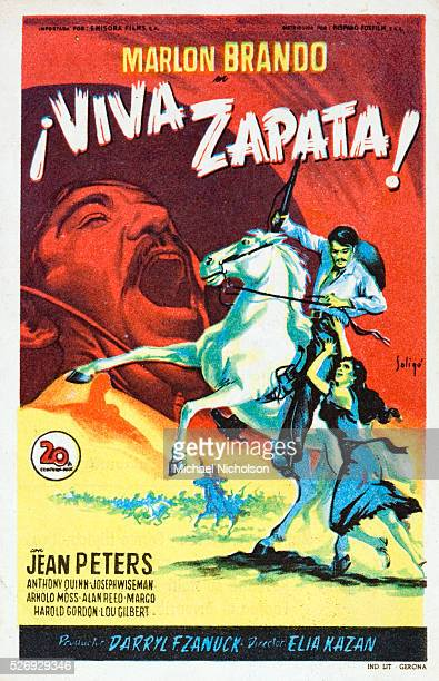 Small Spanish film poster for the 1952 Oscar winning 20th Century Fox production Viva Zapata The movie directed by Elia Kazan with a screenplay by...