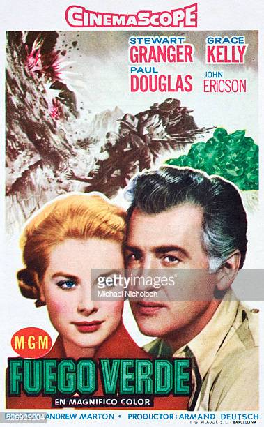 Small Spanish film poster for the 1954 MGM adventure film Green Fire directed by Andrew Marton and starring Stewart Granger Grace Kelly Paul Douglas...