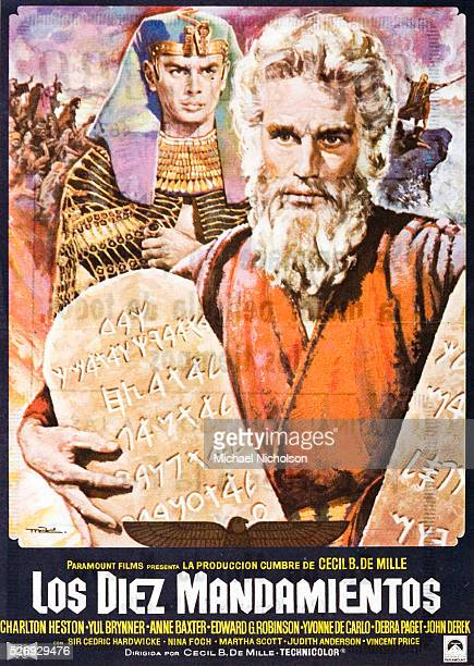 Small Spanish film poster for the Motion Pictures Associates Paramount Pictures biblical kitsch classic The Ten Commandments directed by Cecil B...
