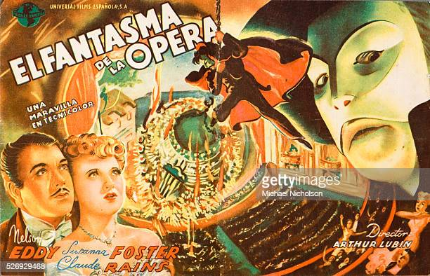 Small Spanish film poster for the Universal Pictures 1943 film Phantom of the Opera; directed by Arthur Lubin and starring Nelson Eddy, Susanna...