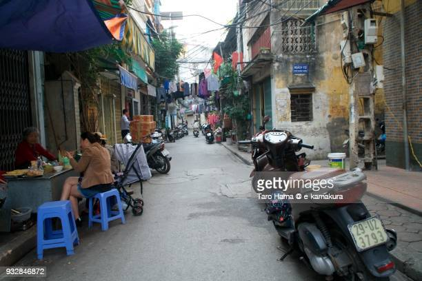 small street in residential district in hanoi city in vietnam - utc−10:00 stock pictures, royalty-free photos & images