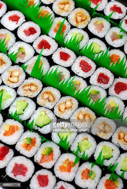 Small sushi rows packed together