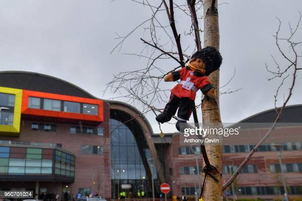 A small teddy bear is seen tied to a tree outside Alder Hey Children's Hospital on April 24 2018 in Liverpool England Earlier today Tom Evans the...
