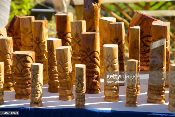 small tiki totems, maui - barry wood stock pictures, royalty-free photos & images