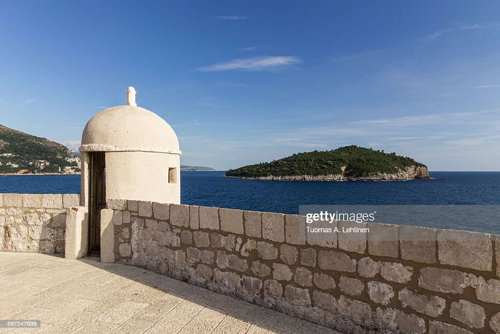Small tower and Lokrum Island in Dubrovnik : ストックフォト