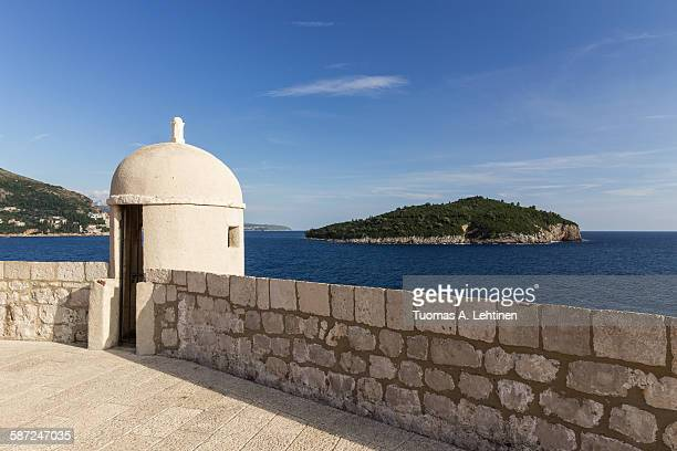 Small tower and Lokrum Island in Dubrovnik