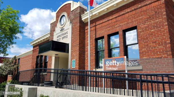 small town armstrong british columbia heritage post office - thompson okanagan region british columbia stock pictures, royalty-free photos & images