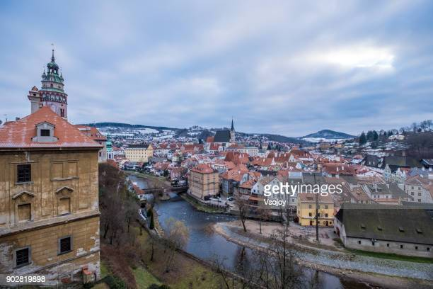 a small town at the central european - český krumlov, czech republic - cesky krumlov castle stock photos and pictures