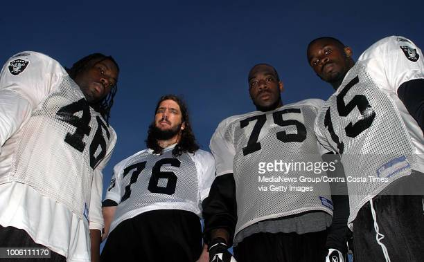 Small town boys from left Oren O'Neal Robert Gallery Mario Henderson and Johnnie Lee Higgins at the Raiders training facility in Alameda Calif on...