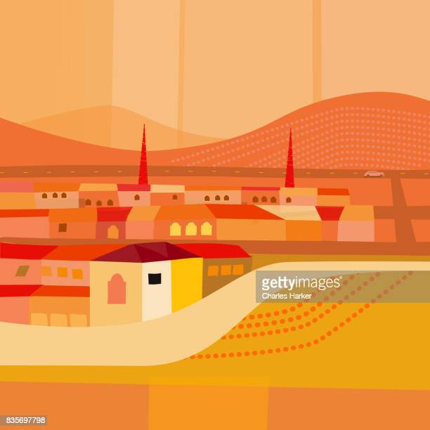 Small Town by Quiet Highway in Desert Illustration