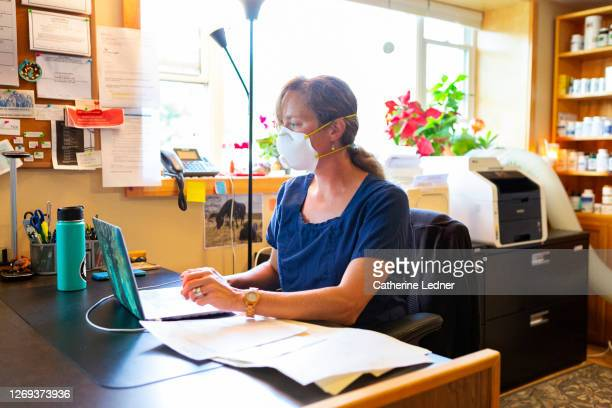 small town doctor at her office reading laptop while wearing scrubs and protective face mask. - catherine ledner stock pictures, royalty-free photos & images
