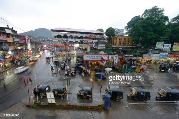 Small town in the Western Ghats of Kerala during the monsoon on July 19 2016 in India